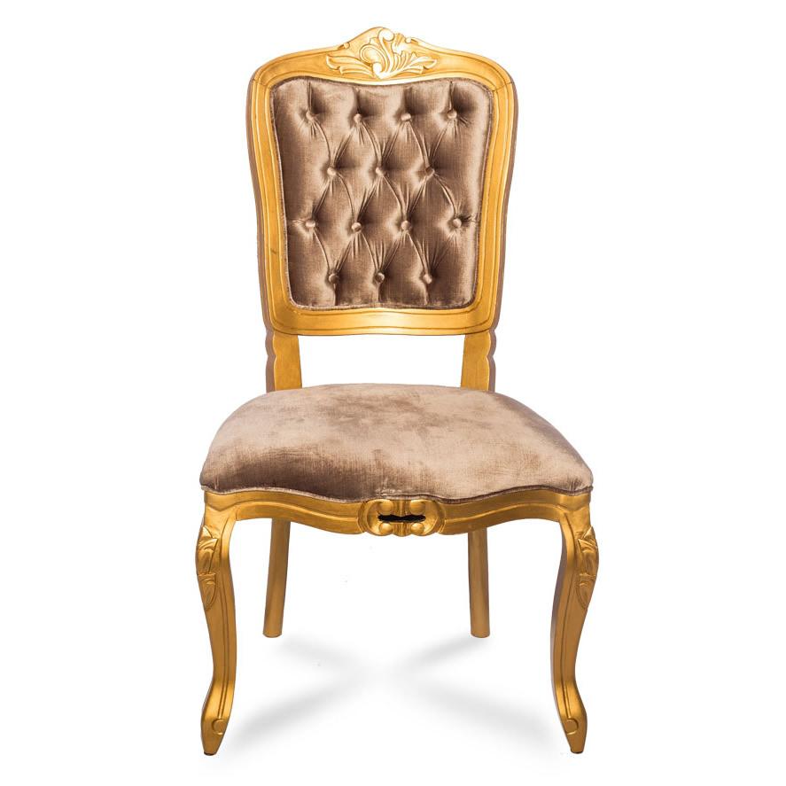 Cadeira Dourada Estofado Marrom