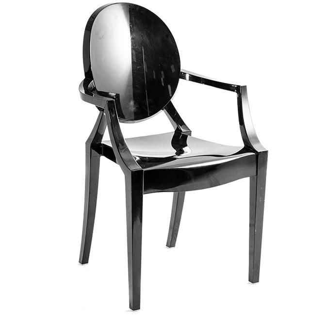 Cadeira Ghost Preta com braço