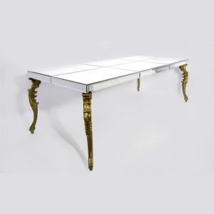 Mesa de Espelho com Pé Dourado Talhado