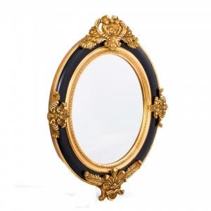 Espelho Redondo Preto e Dourado