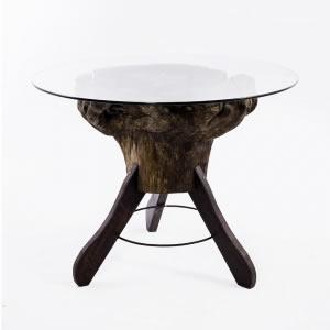 Mesa Tronco com tampo de vidro